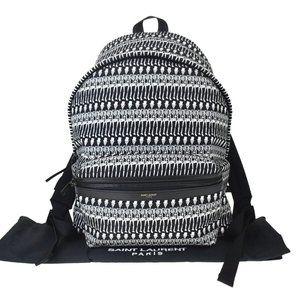SAINT LAURENT Skull Pattern Backpack Bag Canvas L